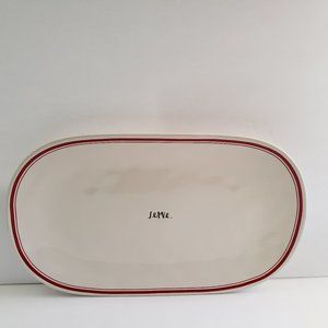 NEW Rae Dunn Oval Platter Ivory Red Edge Striped